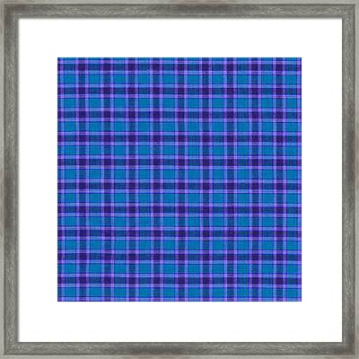 Blue And Purple Plaid Pattern Textile Background Framed Print by Keith Webber Jr