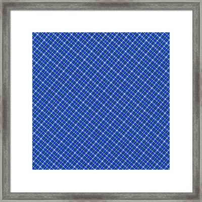 Blue And White Diagonal Plaid Pattern Cloth Background Framed Print by Keith Webber Jr