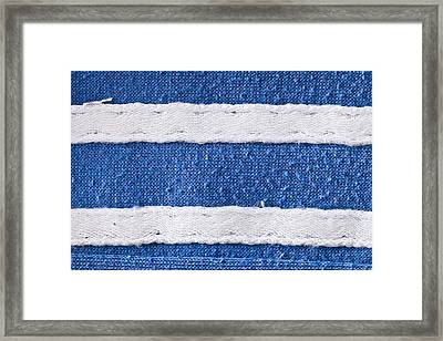 Blue And White Fabric Framed Print by Tom Gowanlock