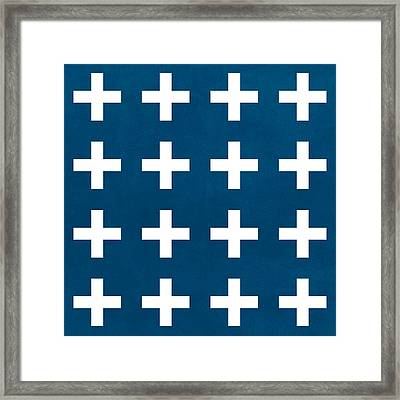 Blue And White Plus Sign Framed Print by Linda Woods
