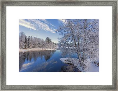 Blue And White Framed Print by Rose-Maries Pictures