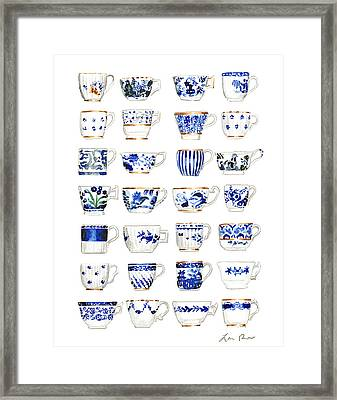 Blue And White Teacups Collage Framed Print by Laura Row Studio