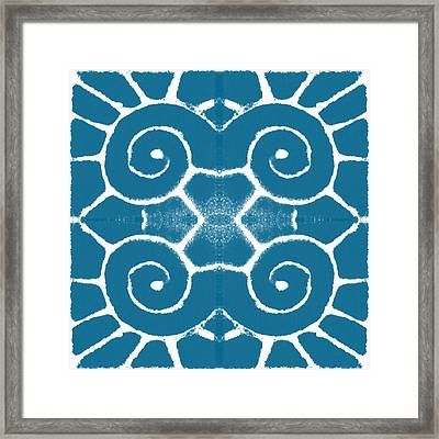 Blue And White Wave Tile- Abstract Art Framed Print by Linda Woods