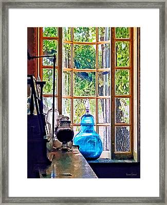 Blue Apothecary Bottle Framed Print by Susan Savad