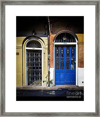 Blue Arch Door Framed Print by Perry Webster