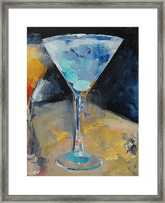 Blue Art Martini Framed Print by Michael Creese