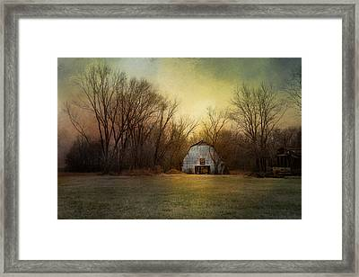 Blue Barn At Sunrise Framed Print by Jai Johnson
