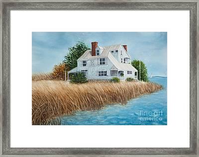 Blue Beach House Framed Print by Michelle Wiarda