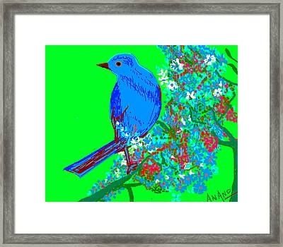 Blue Bird And Flowers Framed Print by Anand Swaroop Manchiraju