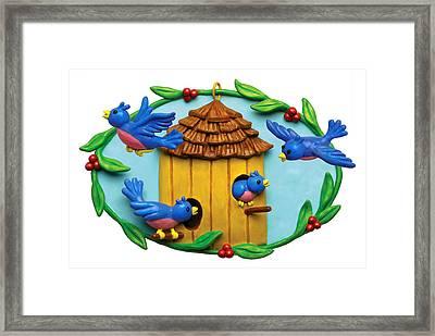 Blue Birds Fly Home Framed Print by Amy Vangsgard