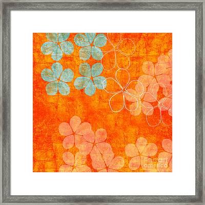 Blue Blossom On Orange Framed Print by Linda Woods