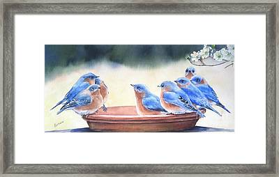 Blue Board Meeting Framed Print by Patricia Pushaw