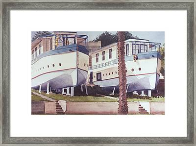 Blue Boat Apartments Encinitas Framed Print by Mary Helmreich