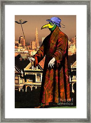 Blue Bonnet Plague Doctor Of San Francisco Alamo Square 20140306 Framed Print by Wingsdomain Art and Photography
