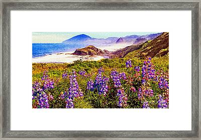 Blue Bonnets On Oregon Coastline Framed Print by Bob and Nadine Johnston