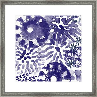 Blue Bouquet- Contemporary Abstract Floral Art Framed Print by Linda Woods