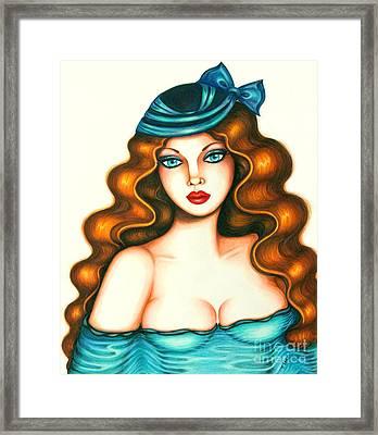 Blue Bow Hat Framed Print by Tara  Shalton