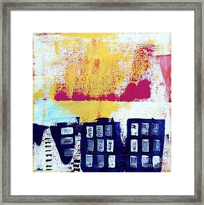 Blue Buildings Framed Print by Linda Woods
