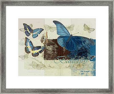 Blue Butterfly - J152164152-01 Framed Print by Variance Collections