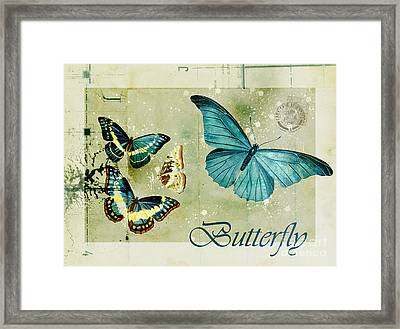 Blue Butterfly - S55c01 Framed Print by Variance Collections