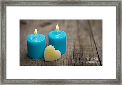 Blue Candles Framed Print by Aged Pixel