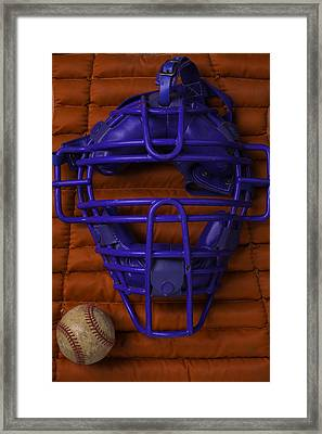 Blue Catchers Mask Framed Print by Garry Gay