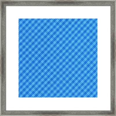 Blue Checkered Diagonal Tablecloth Cloth Background Framed Print by Keith Webber Jr