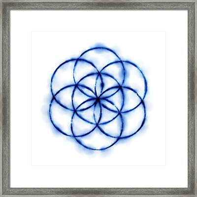 Blue Circle Abstract Framed Print by Tom Druin