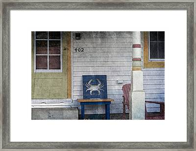 Blue Crab Chair Framed Print by Brian Wallace