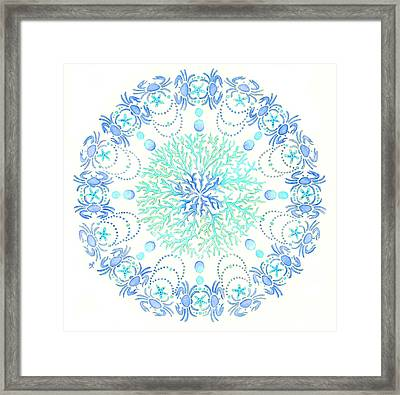 Blue Crab Mandala 5 Framed Print by Stephanie Troxell