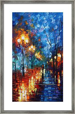 Blue Day - Palette Knife Oil Painting On Canvas By Leonid Afremov Framed Print by Leonid Afremov