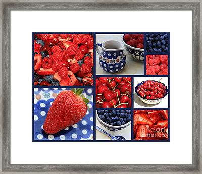 Blue Dishes And Fruit Collage Framed Print by Carol Groenen