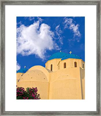 blue domes of Santorini Framed Print by Meirion Matthias