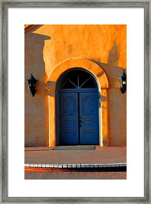Blue Door In Old Town Framed Print by Jan Amiss Photography