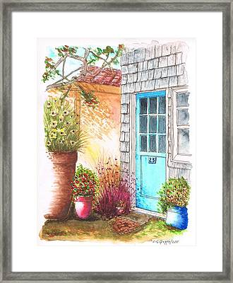 Blue Door In Venice Beach - California Framed Print by Carlos G Groppa