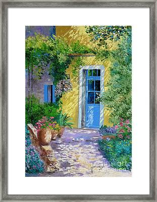 Blue Door Framed Print by Jean-Marc Janiaczyk