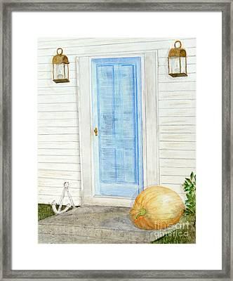 Blue Door With Pumpkin Framed Print by Barbie Corbett-Newmin