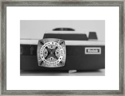 Blue Dot Magicube In Black And White Framed Print by Kelly Hazel