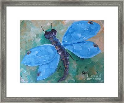 Blue -dragonfly Framed Print by Beverly Livingstone