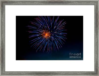 Blue Firework Flower Framed Print by Robert Bales