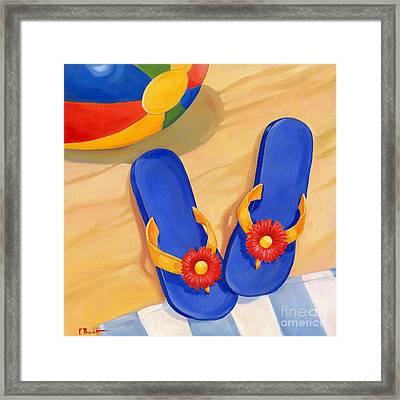 Blue Flip Flops Framed Print by Paul Brent