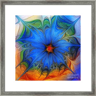 Blue Flower Dressed For Summer Framed Print by Karin Kuhlmann