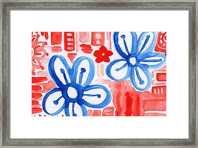 Blue Flowers- Floral Painting Framed Print by Linda Woods