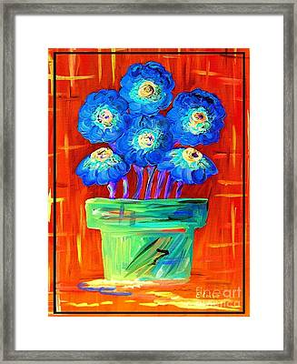 Blue Flowers On Orange Framed Print by Eloise Schneider