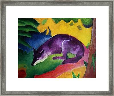 Blue Fox Framed Print by Franz Marc
