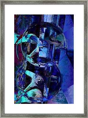 Blue Gears Collage Framed Print by Ann Powell