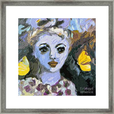 Blue Girl Abstract Modern Art Framed Print by Ginette Callaway