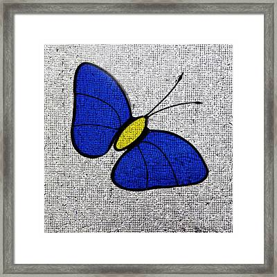 Blue Glass Butterfly Square Framed Print by Karen Adams