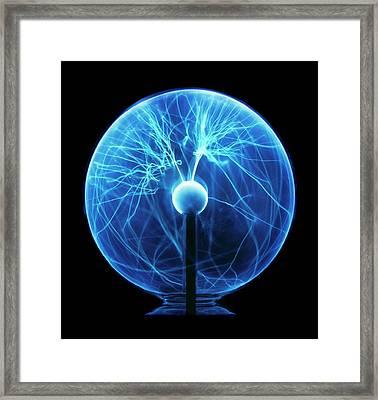 Blue Glass Globe Filled With Bright Plasm Framed Print by Dorling Kindersley/uig