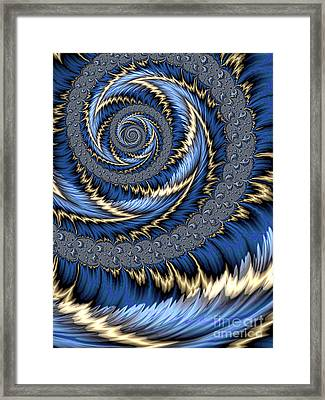 Blue Gold Spiral Abstract Framed Print by John Edwards